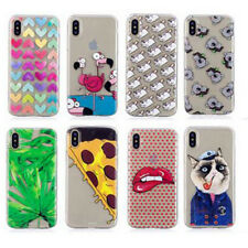 Ultra thin Cartoon Coloful Clear TPU Soft Mobile Phone Case Cover For iPhone X