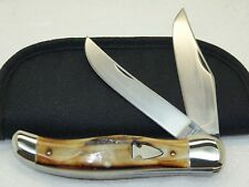 NORTHWOODS, FOLDING HUNTER KNIFE WITH SUPER PRETTY THICK STAG, SCARCE & MINT