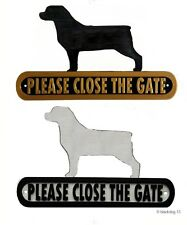 Rottweiler Please Close The Gate Silhouette Dog Plaque - House Garden