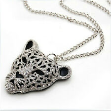 Queen Diamond 1 Pcs Sweater Chain Bling Jewelry Leopard Head Crystal Necklace