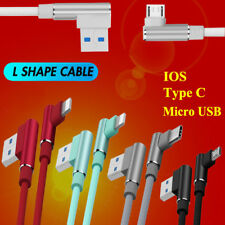 Nylon 90 Degree Right Angle Micro USB IOS Fast Charger Data Sync Charging Cable