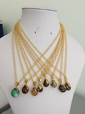 Agate and Jasper Bead Pendant Necklaces with Gold Plated Copper Link Chains