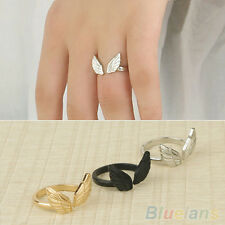 JZ_ Retro Womens Fashion Angel Wing Shape Adjustable Jewelry Cuff Open Finger