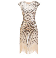😍Gourgeous Luxury Vintage 1920s Flapper Great Gatsby Dress O-Neck Cap Sleeve😍