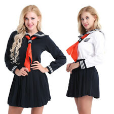 Sexy Women Japanese Sailor School Uniform Long Sleeve Cosplay Costume Outfit Set