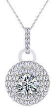 (0.33 cttw) Round Shape White Cubic Zirconia Halo Circle Pendant 14k Solid Gold