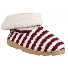 Divaz LATVIA Ladies Womens Faux Fur Lining Striped Warm Comfy Boot Slippers Red