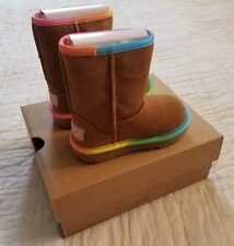 NEW IN BOX TODDLER GIRL'S 8 UGG CLASSIC SHORT II RAINBOW CHESTNUT BOOTS