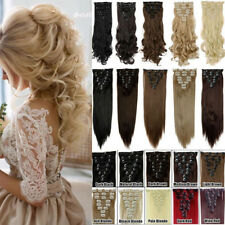 Real Natural As Human Hair Extensions 8Pcs 18Clips Clip in On Brown Blonde Black