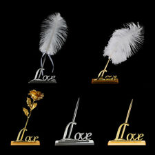 Romantic Freestanding Signing Pen Rose Flower Feather Love Holder Wedding Gifts