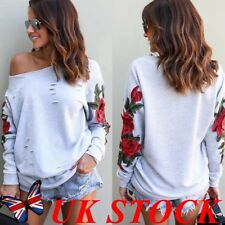 Womens Long Sleeve Hooded Sweater Sweatshirt Jumper Embroidery Floral Blouse Top