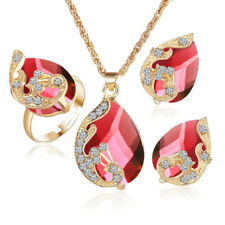 Women Jewelry Set Shiny Water-Drop Rhinestone Necklace Earrings Ring Exquisite
