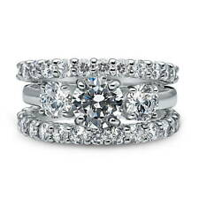 BERRICLE 925 Silver Cubic Zirconia CZ 3-Stone Engagement Ring Set 5.08 Carat
