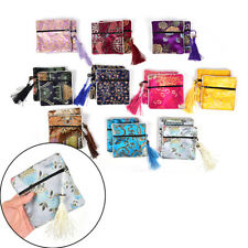 Tassel Packaging Bag Floral Fabric Bag Coin Purse Bag Silk Brocade Jewelry HU