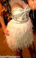 NWT bebe addiction isis XS S feather top dress strapless studded