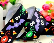 "1.5"" HALLOWEEN BATS AND SPIDERS grosgrain ribbon 3, 5, 10, 25 yds for hair bows"