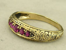 R078- Genuine 9K 9ct Yellow Gold NATURAL Ruby Etched ETERNITY Band Ring size N