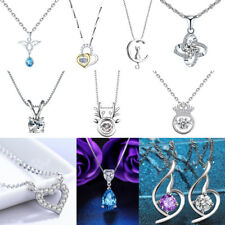 Fashion 925 Sterling Silver Plated Charm Pendant Necklace Chain Jewelry NW