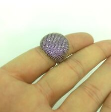 925 Sterling Silver Handmade  Jewelry Micro Pave Amethyst Stones  Ladie's Ring