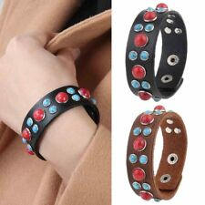 Handmade Bohemian Leather Bracelet Stone Wrap Bangle Charm Adjustable