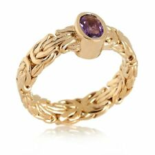 Technibond Oval Amethyst Byzantine Band Ring 14K Yellow Gold Clad Silver HSN