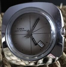 Vintage 1976 Chrome Timex Wind Up Date Cross Hair Mens Watch Working