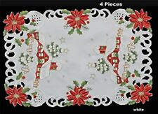 Creative Linens Holiday Christmas Embroidered Red Poinsettia Christmas Tree Sno