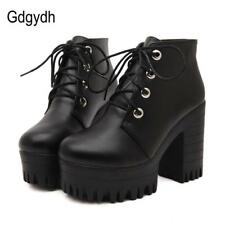 High Ankle Lace Up Womens Boots Shoes Platform Ladies Size Heel Booties Fashion