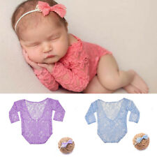 Newborn Baby Romper Girl Lace Floral Backless Bodysuit Photography Props Outfits