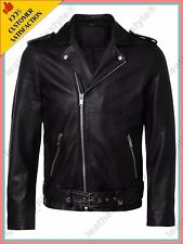 New Men's Genuine Lambskin Quilted Motorcycle Slim fit Biker Jacket Coat Leather