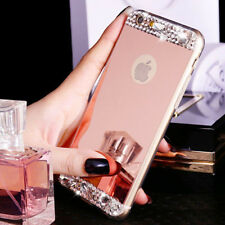 Women's Bling Crystal Soft TPU Mirror Back Cover Case For Apple iPhone Mobiles