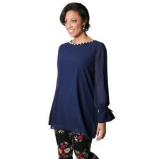 Womens Pearl Neck Chiffon Tunic Top Ladies Long Sleeve Loose Blouse Dress Party