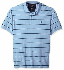Nautica Men's Big and Tall Classic Short Sleeve Striped Polo Shirt, Noon Blue