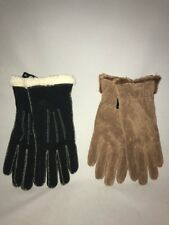 Isotoner Women's Suede Leather Gloves Sherpa Soft Lining Brown Black Size Medium