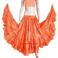 CORAL Cotton Gypsy 4 Tiered 12 Yard Skirt Tribal Belly Dance Flamenco S~3XL