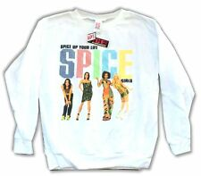 The Spice Girls Spice Up Your Life Youth Kids Crew White Sweatshirt New Official