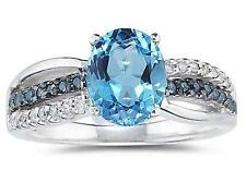 2 1/2 Carat Blue Topaz and  Blue and White Diamond Ring in 10K White Gold