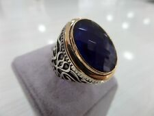 Handcraft 925 Sterling Silver Jewelry Sapphire Gemstone Men's Ring All Size