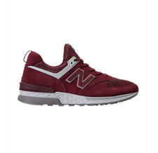 New! New Balance 574 Sport Suede Casual Shoes sneaker Burgundy/White