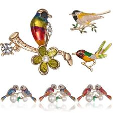 Women Lovely Crystal Rhinestone Pearl Animal Couple Birds Brooch Pin Jewelry New