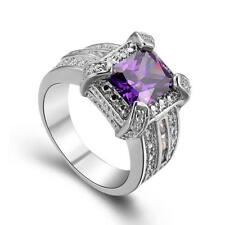 Stunning Jewelry new Amethyst 925 Sterling Silver Wedding Party Ring size 7 8 9