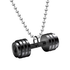 Mens Stainless Steel Fitness Dumbbell Barbell Pendant Necklace,Bead Ball Chain