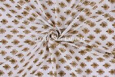 Indian Cotton Voile Hand Block Print Natural Dyed Fabric by the Yard Sanganeri