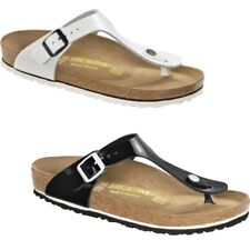 Birkenstock Gizeh Thong - Black / White Patent - Leather