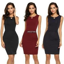 Women Sleeveless Package Hip Ruched Knee Pencil Dress Slim OL Party MY8L