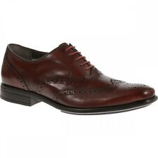 Hush Puppies GRIFFIN MADDOW Mens Leather Oxford Formal Brogue Shoes Oxblood Red