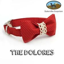 """""""The Dolores"""" red polka dot bow tie dog collar, seperate leash available"""