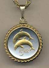 """Iceland 5 Kronur """"Dolphin"""" Silver and Gold Plated Coin Necklace"""