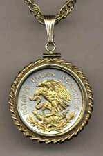 """Mexican 10 Centavo Silver & 24 k Gold Plated Eagle 18"""" or 24"""" Coin Necklace"""