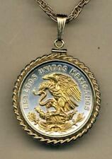 """Mexican 20 Centavo Silver & 24 k Gold Plated Eagle 18"""" or 24"""" Coin Necklace"""